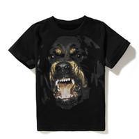 рубашки оптовых-Роскошные Мужские Дизайнерские Футболки Мужчины Женщины Хип-Хоп Футболка 3D Печать Ротвейлер Дизайнерская Рубашка