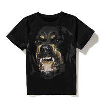 printed t shirt toptan satış-Lüks Erkek Tasarımcı T Shirt Erkek Kadın Hip Hop T Gömlek 3D Baskı Rottweiler Tasarımcı Gömlek