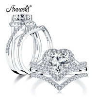 Wholesale heart cut wedding rings for sale - Group buy AINUOSHI Fashion Sterling Silver x8mm Heart Cut Halo Engagement Ring Sets Simulated Diamond Wedding Bridal Ring Set Jewelry Y200107