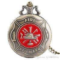 tallado colgantes al por mayor-Retro Antiguo Bronce Bombero Bombero Cuarzo Reloj de bolsillo Moda Rojo Símbolo de bombero Tallado Colgante Collar delgado Cadena Reloj Bombero Regalos