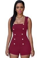 Wholesale spot jumpsuit resale online - Spot sleeveless military style wind button sexy jumpsuit nightclub wear women s clothing
