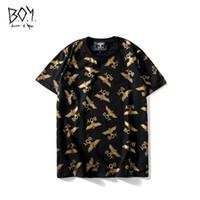 aviões de ouro venda por atacado-Águia de ouro de Luxo T-shirts Dos Homens Em Torno Do Pescoço de Manga Curta Pequeno Avião Imprimir Tops Moda Adolescente Hot Stamping Tees