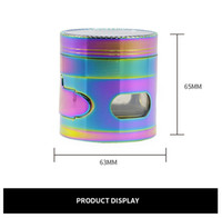 Wholesale windows signal for sale - Herb Grinder Rianbow layers mm Zinc Alloy Metal Herbal Grinders signal Tooth With Drawer Side Opening Window Tobacco Side Crushe6