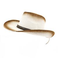 chapéu de aba marrom venda por atacado-Verão ao ar livre à beira-mar sombrinha chapéu unisex mulheres marrom pintura à pistola cowboy chapéu de palha de aba larga pala de sol tampas respirável sunhat