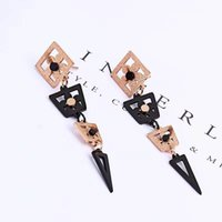 Wholesale gift items china for sale - Group buy Fashion Young Solid Rose Gold black Long Form Line Triangle Earrings All items from a smoke free pet free home