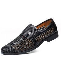 ingrosso sandali in pelle casual traspirante maschile-Classics Gladiator Uomo Oxfords in pelle Sandali Casual Cut-Out traspirante Scarpe maschili Mocassini Italian Flats Shoes for # 57012
