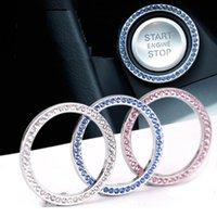 ingrosso decorazione degli anelli-Pulsante di avvio automatico Pulsante Bling, Crystal Ring Emblem StickerExquisite Car One Button Start Ring Imitazione Diamond Decoration Ring Key
