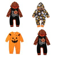 kürbis anzug baby großhandel-Einzelhandel Halloween Babyspielanzug Kleinkind Baby Onesies One Piece Striped Hooded Pumpkin Lange Kletteranzug Overalls Boutique-Kleidung