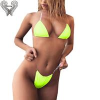 drucken mikro-bikini großhandel-Bkning Dreieck Micro Neon Green Bikini Set für Frauen Badeanzug Invisible Mini Biquini Snake Print Weibliche Badeanzüge