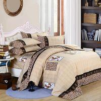 yorgan yatak takımları krallar toptan satış-Yeni Moda Basit Kahverengi Ton Desen Yatak Takımları Kapak Leopar Baskı Yorgan Yorgan Kapak Yastık Kılıfı Çarşaf Set Yatak Örtüsü dekor