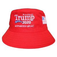 amerikan kapakları toptan satış-Trump 2020 Işlemeli Kova Kap Amerika Büyük Şapka Tutmak Moda Unisex Spor Balıkçı Kap Moda Seyahat Kamp Güneş Şapka TTA896