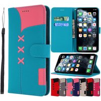 Wholesale stitch phone cases for sale – best Creative Stitching Color Canvas Texture Wallet Phone Case for iPhone Pro X XR XS Max and Samsung Note Pro S8 S9 S10 Plus