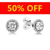 ingrosso orecchini di modo 925-Orecchini di design di gioielli di moda femminile di lusso Scatola originale per orecchini in argento 925 con diamante cristallo femminile Pandora