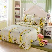 kinder in voller größe bettwäsche-sets großhandel-Gelbe Giraffe Cartoon Kinder Kinder Jungen und Mädchen aus 100% Baumwolle Bettwäsche Kissenbezug Bettwäsche-Sets Doppel voll Queen Kingsize