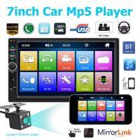 mp5 polegadas venda por atacado-7 Polegada 2 Din Bluetooth Carro Mp4 Mp5 Car Radio Video Player Link de Espelho Volante Controle Câmera de Visão Traseira Opcional