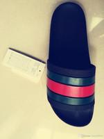 marcas de sandalias al por mayor-2018 Hombres sandalias de diseño causales de goma verano huaraches zapatillas mocasines pisos de cuero de lujo de la marca Europa diapositivas diseñador sandalias us 7-11