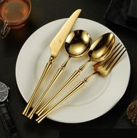 Wholesale high tea china sets for sale - Group buy high quality Gold Cutlery Flatware Set Spoon Fork Knife Tea Spoon Stainless Steel Dinnerware Set Luxury Cutlery Tableware Set wn773 set