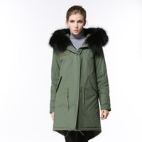 Wholesale white fur trim for coats for sale - Group buy 2019 women snow coats for sale black raccoon fur trim army green down fill lining army green canvas long parkas