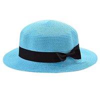 ingrosso cappello blu cielo-Nuovo 2018 all'ingrosso cappelli da cowboy piatto estate cappelli di paglia arco per le donne copricapo da spiaggia chapeau regalo femme cielo blu