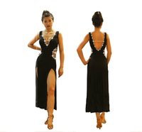 черные женщины танцуют шею оптовых-Высококачественные латинские танцевальные платья Женщины Профессиональная одежда Латинские платья Черная сексуальная вилка с глубоким V-образным вырезом Блестящая одежда для соревнований