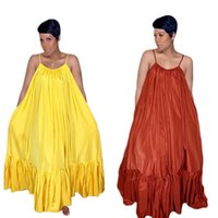 ingrosso vestiti casuali gialli più il formato-2019 Nuovi modelli Plus Size S-xxl Swing senza maniche Sling Mid-waist Piega cuciture e lunghezza del pavimento Abiti per le donne Giallo Borgogna