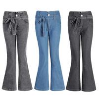 pantalon azul ancho al por mayor-Jeans acampanados de alta resistencia Pantalones anchos de pierna ancha para mujer Nuevo estilo Bellbottoms Jeans Plus Size S-4XL con cinturón Pantalones de moda Casual azul