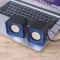 mavi dizüstü mini toptan satış-Mavi Taşınabilir USB 2.0 Multimedya Masaüstü Bilgisayar Notebook Mini Hoparlör 3.5mm Jack Kablolu
