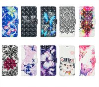 dantelli cüzdanlar toptan satış-3D Çiçek Cüzdan Deri Kılıflar Iphone XS MAX XR X 8 7 6 Artı Kedi Kelebek Dantel Sevimli Güzel Karikatür Tutucu Kart KIMLIK Yuvası Çerçeve Kapak Çevirin