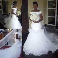 Wholesale east african wedding dresses online - Charming Ruffle African Mermaid Wedding Dresses Plus Size Bateau Neck Tulle Tiers Middle East Arabic Country Bridal Gown Bride Dress Custom
