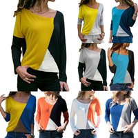 Wholesale 2019 Spring Stitching Contrast Color Ladies Round Neck Long Sleeved T Shirt Top Tee Shirt Size S XL