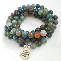 ingrosso braccialetto indiano maschio-Natural Stone Healing Natural onice indiano 108 mala braccialetto / collana Unisex yoga braccialetto Yoga gioielli dropshipping