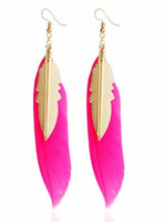 Wholesale new style long earrings for sale - Group buy new hot Long feather earrings European and American style retro alloy tassel ornaments fashion classic elegant