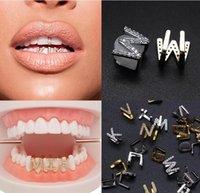 grades brancas dentes de ouro venda por atacado-Dentes de ouro de ouro branco para fora congelado A-Z Grillz Letra feita sob encomenda cheia de diamantes DIY fang Grills Cosplay Cap Dente Hip Hop Dental Boca Braces Dentes