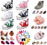 neugeborene schuhe großhandel-Weiche Sohle Neugeborenen Mokassins Moccs Baby Booties Infant Quaste Schuhe Krippe Schuhe Prewalker Baby Sport Turnschuhe 300 Arten für wählen