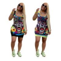 kızlar kaplan üstleri toptan satış-Karikatür Kaplan Kafası Baskı Bodycon Elbiseler Kolsuz Tank Top Kısa Etekler Scoop Boyun Renkli Kadın Elbise Moda Kız Giyim 2019 C7907