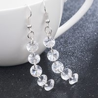 Wholesale silver jewelry for evening resale online - New Fanshion Earrings Even Drill Crystal Earrings For Women Silver Long Earrings Bridal Jewelry Lady