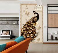 murales de pavo real al por mayor-[Autoadhesivo] 3D Peacock 1832766 Mural de papel de pared Wall Print Decal Murals