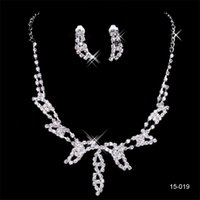 Wholesale bridal jewelry designers resale online - 15019 Designer Sexy Diamond Earrings Necklace Party Prom Formal Wedding Jewelry Set Bridal Accessories In Stock