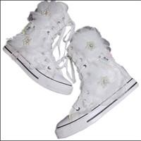 ingrosso scarpe di tela giapponesi-Nuova versione coreana di alta aiuto piccolo bianco dolce fiori pesanti lavoro cerniera nappa tela scarpe da donna giapponesi
