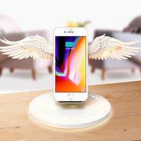 charger la lumière du téléphone achat en gros de-Chargeur Dock Sans fil 10 W Angel Wings Chargeur Rapide pour téléphone mobile universel Huawei iPhone Samsung avec Night Light Bookshelf Ornament