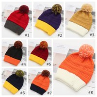 Wholesale yellow knitted tie resale online - Assorted Colors Pompom Beanie hats Wool Tie Ball Knitted Customized Logo Caps Fashion Girls women Winter Warm Hat Bonnet