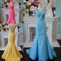 gelbes rosa abschlussballkleid großhandel-2-teiliges Abschlussballkleid 2k19 Elegant Rosa Himmelblau Gelb Meerjungfrau Formelle Veranstaltung Tragen Sie Kleider Bogen Riemen Backless Order-to-Made
