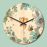 Wholesale circular wall lights resale online - Modern Circular Wood Mechanical Needle Wind Children s Bedroom Cartoon Mute Cute Wall Clock Decor