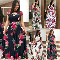 ingrosso abiti fioriti delle donne-Fiore Donne Vestito lungo Estate 2020 New Spring Abiti casual 5XL Plus Size