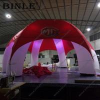carpa roja inflable al por mayor-cubierta roja marca 6 patas de araña carpa inflable con iluminación LED fiesta tienda inflable tienda de la bóveda inflable para promoción