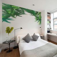 ingrosso murale verde foglia-Adesivo murale motivo foglia verde fresco Decorazioni soggiorno camera da letto per bambini Carta da parati murale Art Decals H0524
