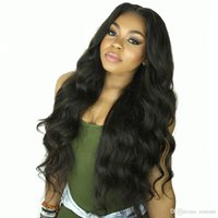 Wholesale full french lace remy wig resale online - Body Wave Lace Front Human Hair Wigs for Women Pre Plucked Hairline with Baby Hair Inch Brazilian Remy Hair Bleached Knots