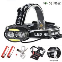 Wholesale headlamp waterproof red for sale - Group buy Headlight Lumen headlamp T6 COB Red LED Head Lamp Flashlight Torch Lanterna with batteries charger