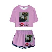 pantalones cortos kawaii al por mayor-Conjunto de dos piezas Kawaii Crop 3D Ariana Grande Siguiente Shorts y camiseta Tops Ropa de mujer 2019 Harajuku Casual Hip Hop Tops Kpop Suit