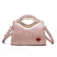 schöne rote handtaschen großhandel-Schöne Frauen Luxus Neuheit Lustige Einkaufstasche Mini Lolita Red Lips Designer Frauen Lederhandtaschen Rosa Damen Handtasche Messenger Bags